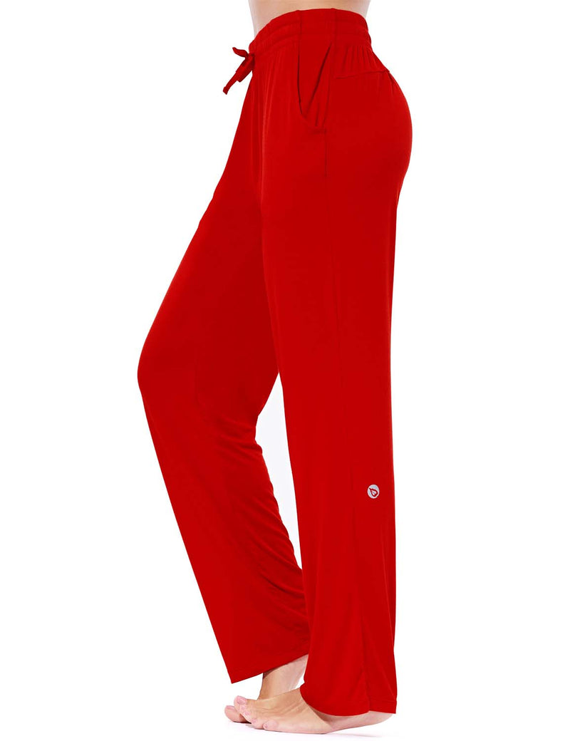 Baleaf Women's Rayon High-Rise Loose Fit Weekend Jogger Sweatpants Red side