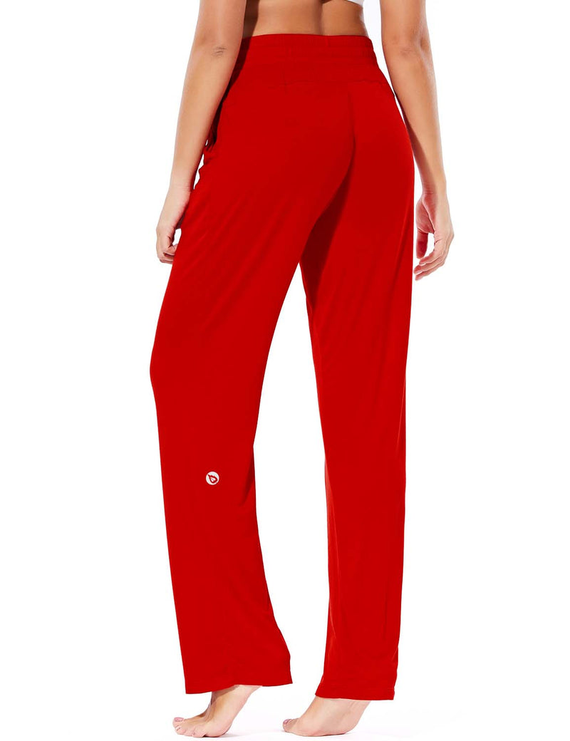 Baleaf Women's Rayon High-Rise Loose Fit Weekend Jogger Sweatpants Red back