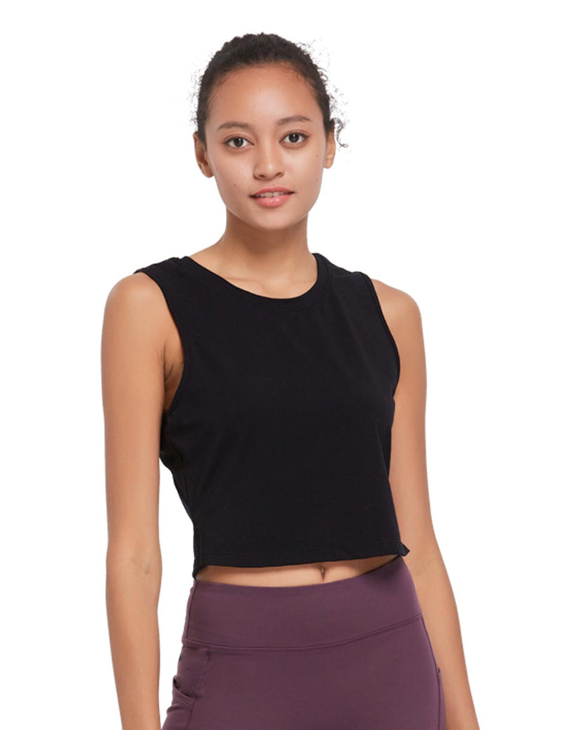 Baleaf Womens Breathable Side-Split Mesh Crop Tank Top Black Front