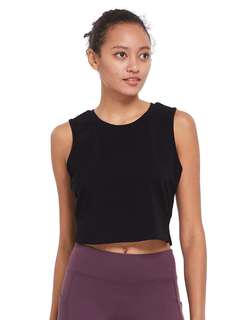 Baleaf Womens Breathable Side-Split Mesh Crop Tank Top Black Side