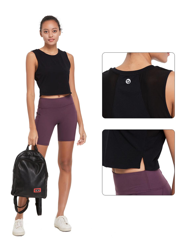 Baleaf Womens Breathable Side-Split Mesh Crop Tank Top Black Details