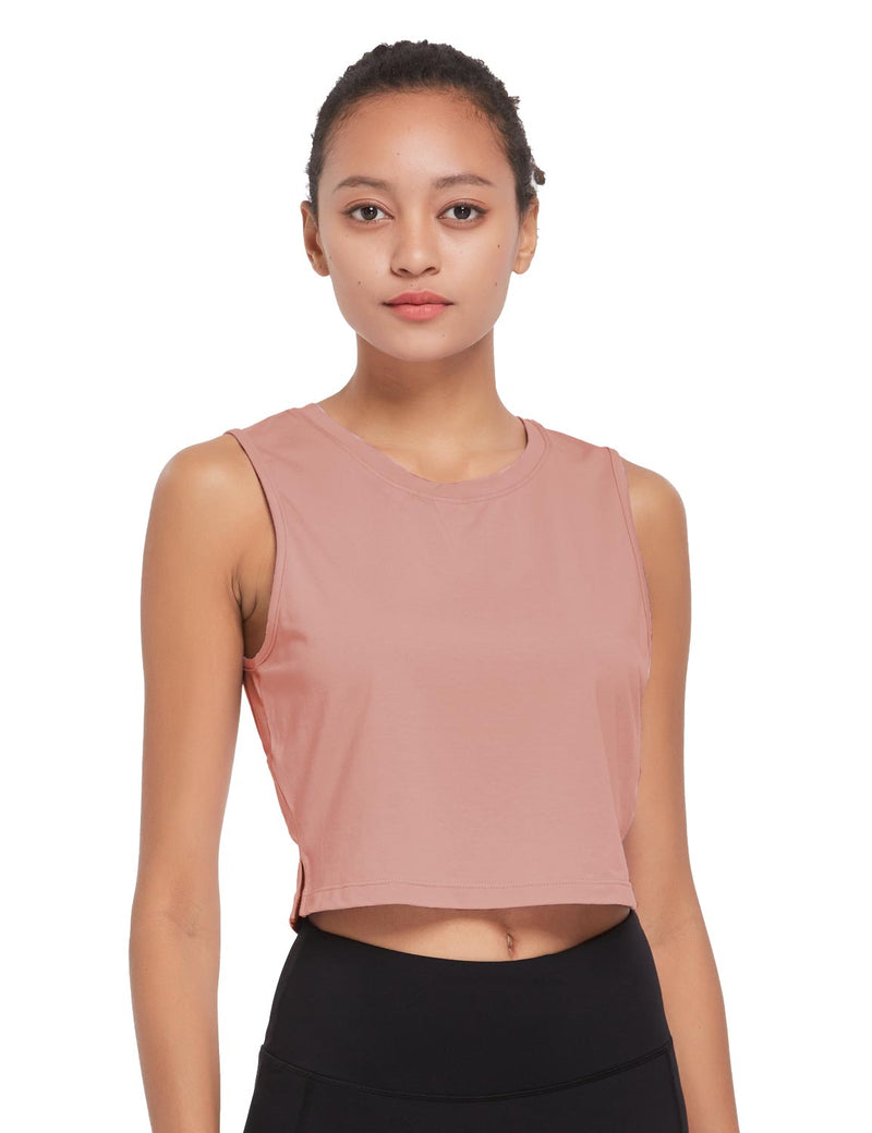 Baleaf Womens Breathable Side-Split Mesh Crop Tank Top Peach Front