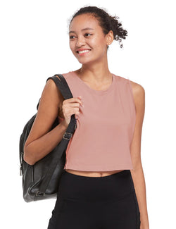 Baleaf Womens Breathable Side-Split Mesh Crop Tank Top Peach Side