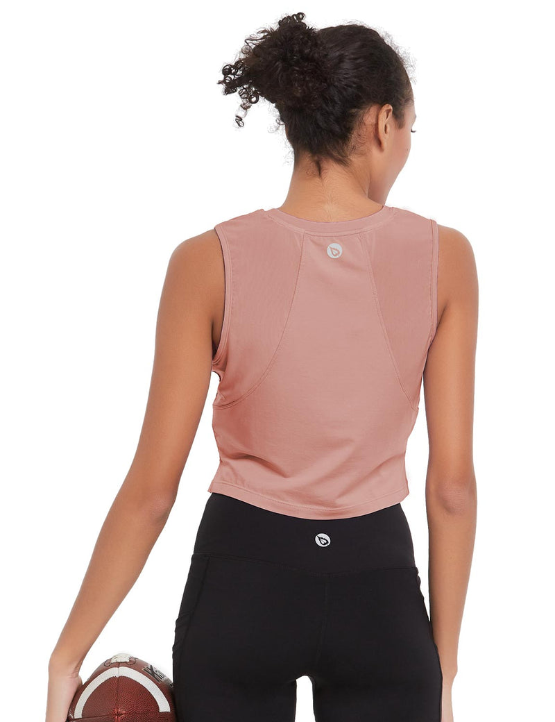 Baleaf Womens Breathable Side-Split Mesh Crop Tank Top Peach Back