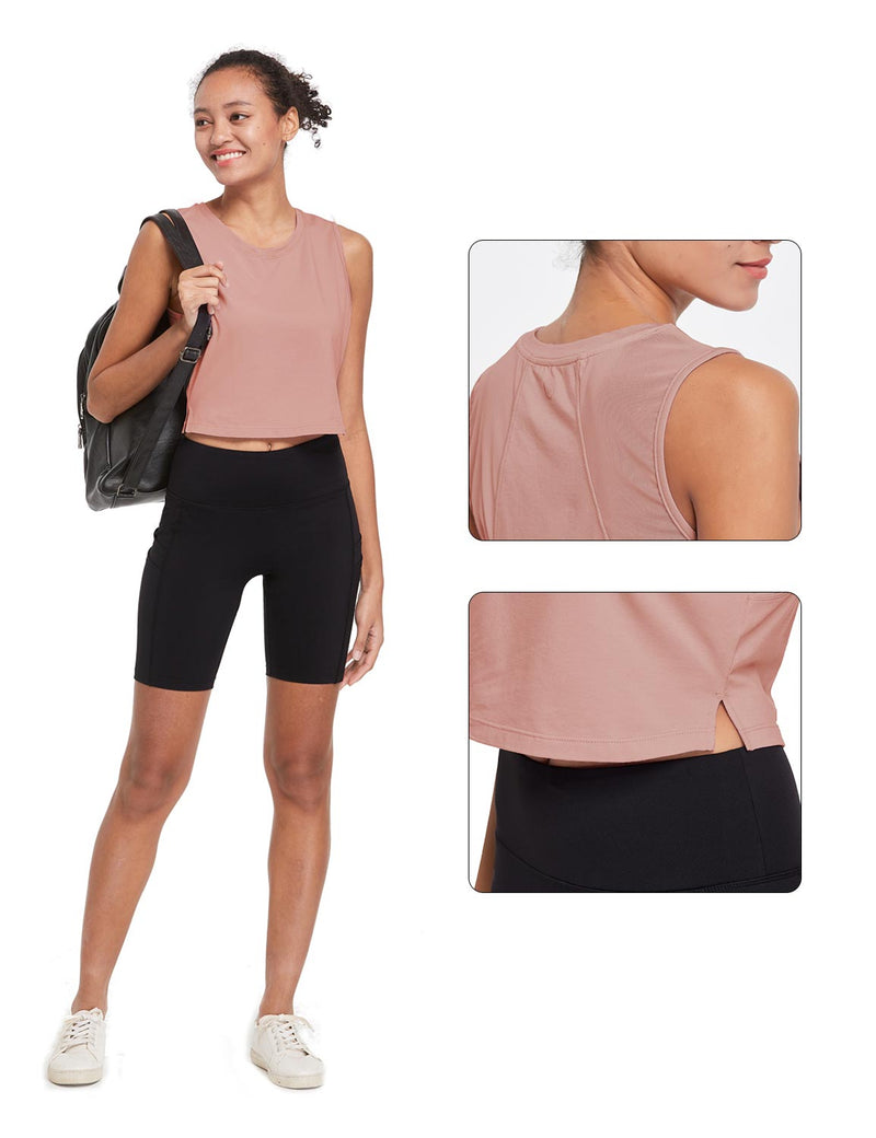 Baleaf Womens Breathable Side-Split Mesh Crop Tank Top Peach Details