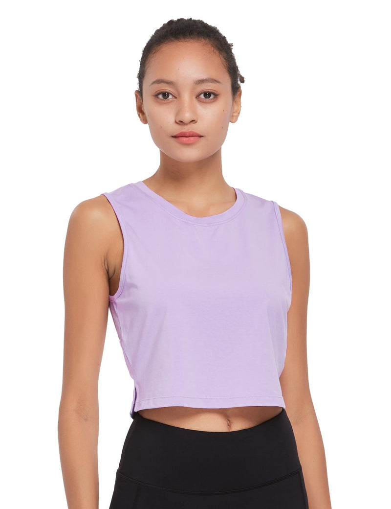Baleaf Womens Breathable Side-Split Mesh Crop Tank Top Purple Front