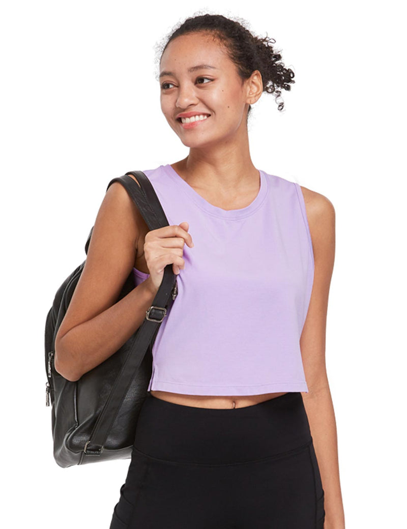 Baleaf Womens Breathable Side-Split Mesh Crop Tank Top Purple Side