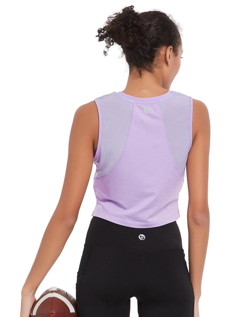 Baleaf Womens Breathable Side-Split Mesh Crop Tank Top Purple Back