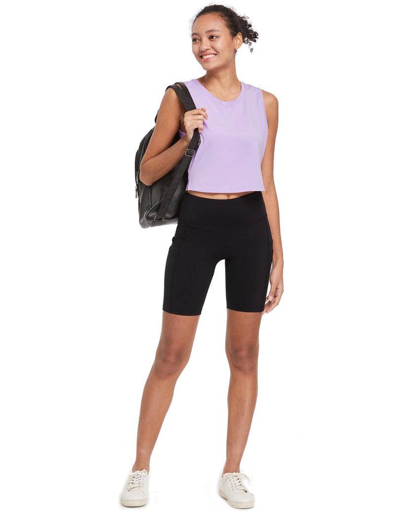 Baleaf Womens Breathable Side-Split Mesh Crop Tank Top Purple Full
