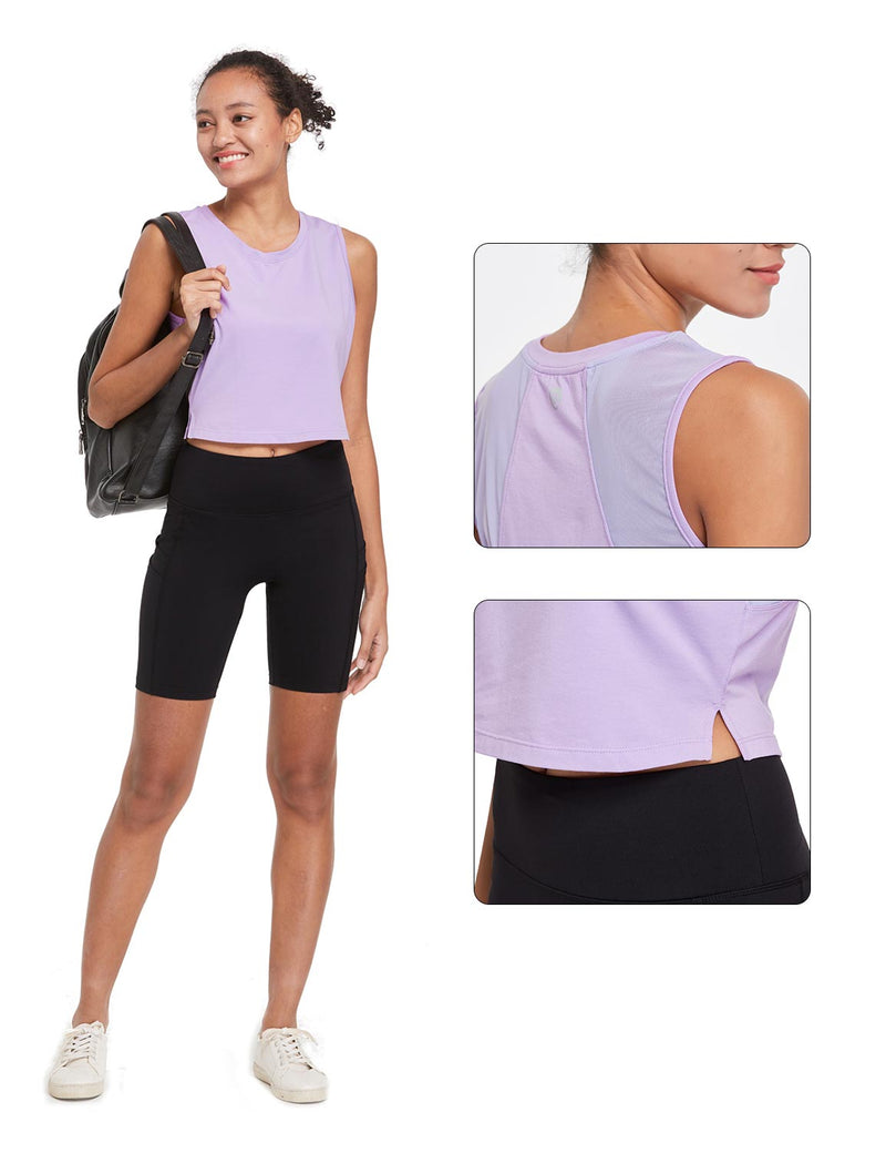 Baleaf Womens Breathable Side-Split Mesh Crop Tank Top Purple Details
