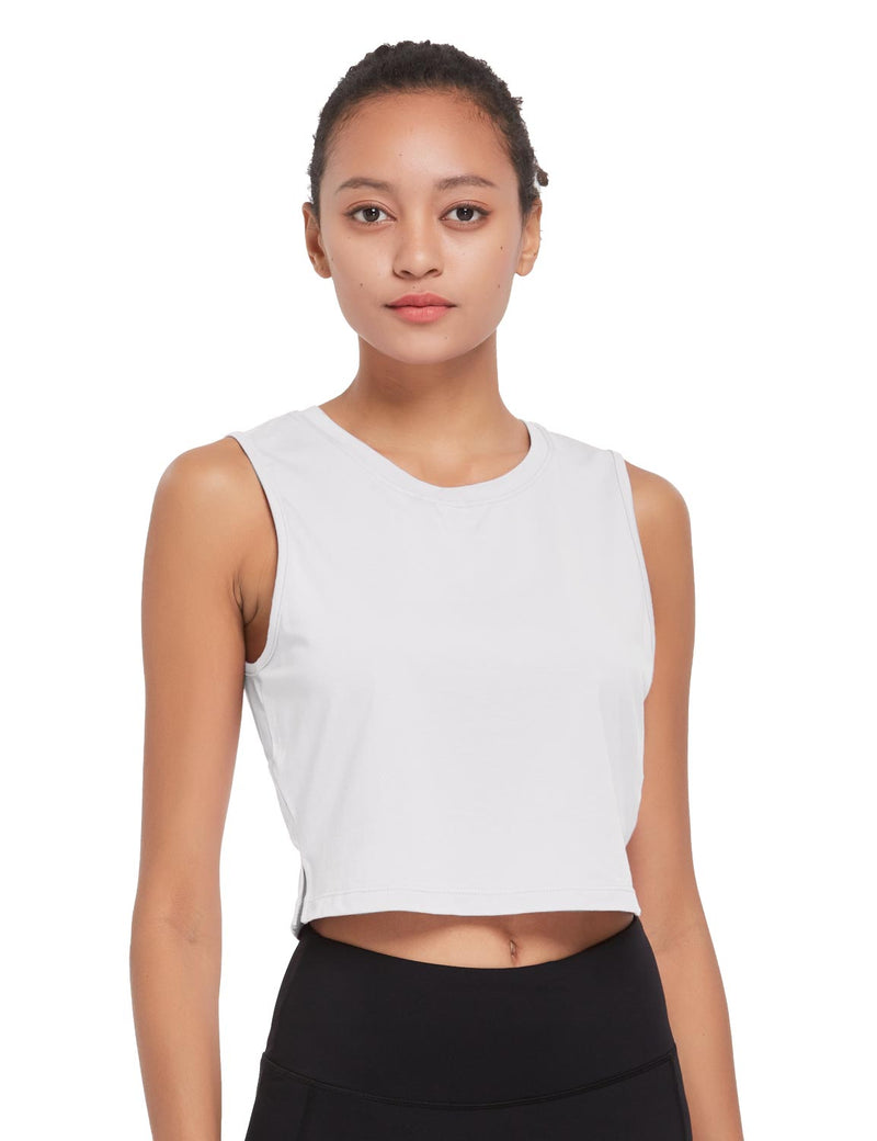 Baleaf Womens Breathable Side-Split Mesh Crop Tank Top White Front