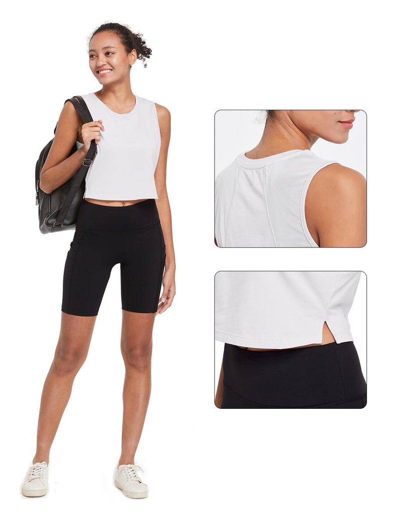Baleaf Womens Breathable Side-Split Mesh Crop Tank Top White Details