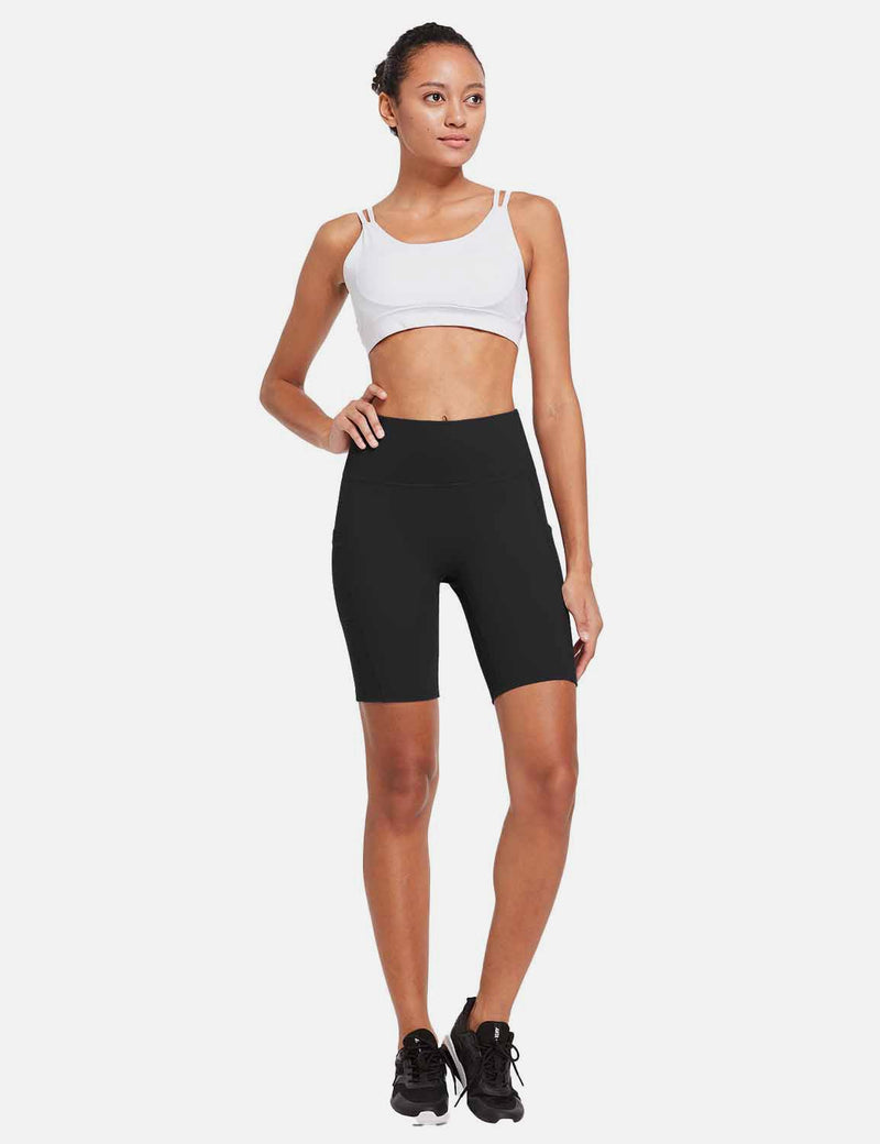 Baleaf Womens 8'' High-Rise Non-See-Through Side Pocketed Workout Shorts Black Side