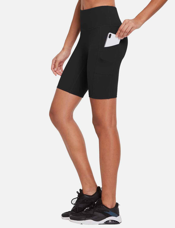 Baleaf Womens 8'' High-Rise Non-See-Through Side Pocketed Workout Shorts Black Back