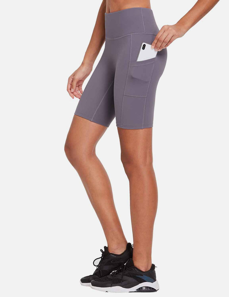 Baleaf Womens 8'' High-Rise Non-See-Through Side Pocketed Workout Shorts Purple Side