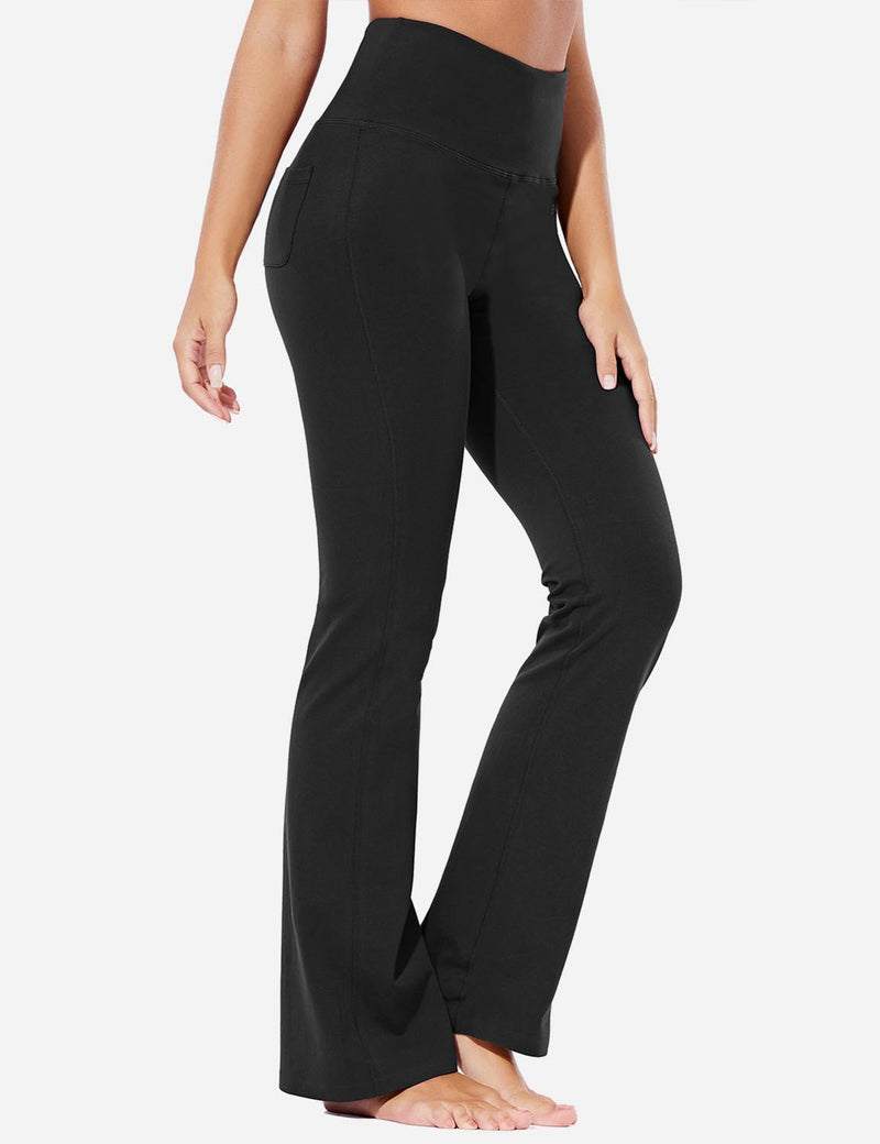 Baleaf Womens High-Rise Seamless Tummy Control Pocketed Bootleg Sweat Pants Black Front
