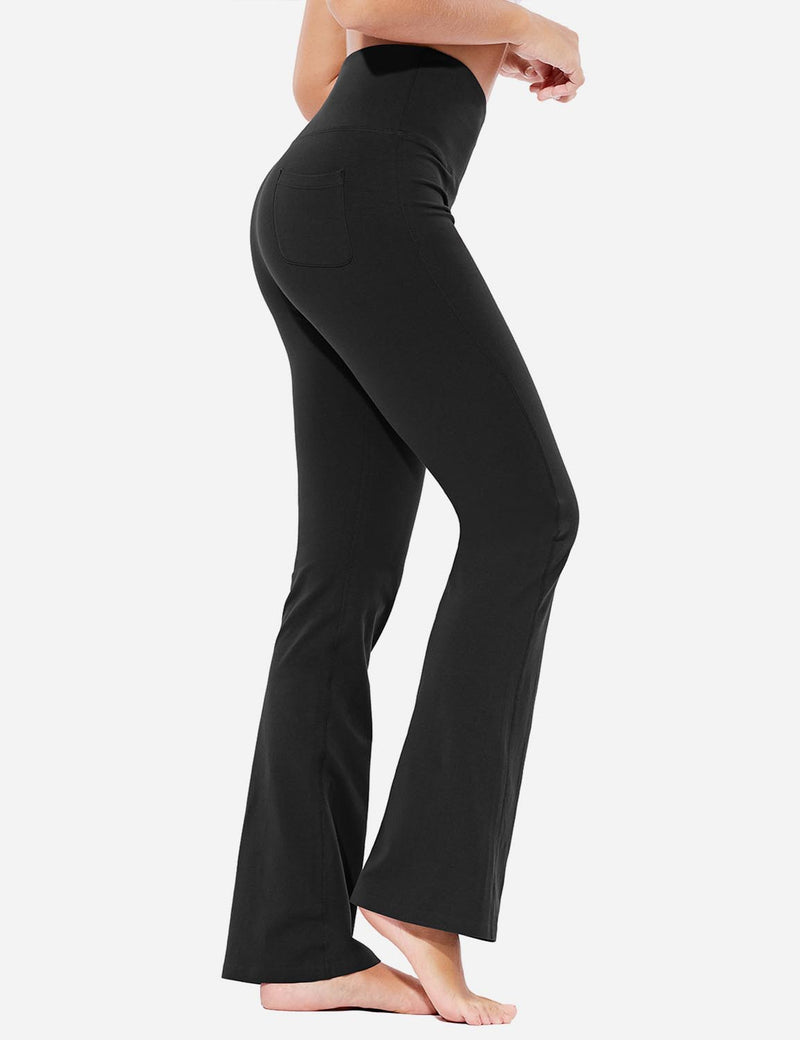 Baleaf Womens High-Rise Seamless Tummy Control Pocketed Bootleg Sweat Pants Black Side