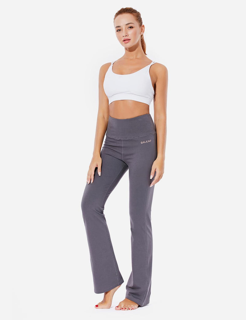 Baleaf Womens High-Rise Seamless Tummy Control Pocketed Bootleg Sweat Pants Gray Full