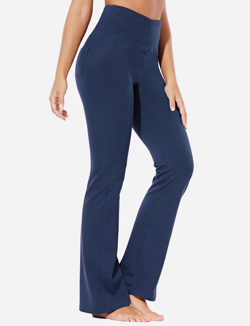 Baleaf Womens High-Rise Seamless Tummy Control Pocketed Bootleg Sweat Pants Navy Front