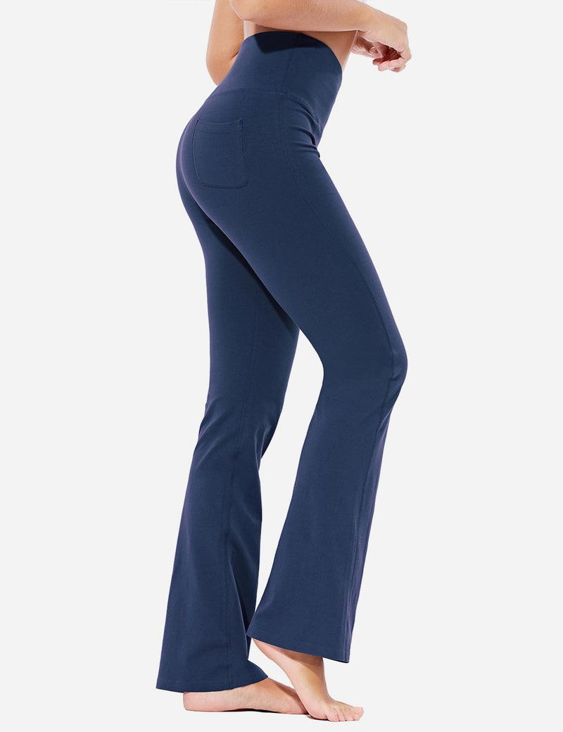 Baleaf Womens High-Rise Seamless Tummy Control Pocketed Bootleg Sweat Pants Navy Side
