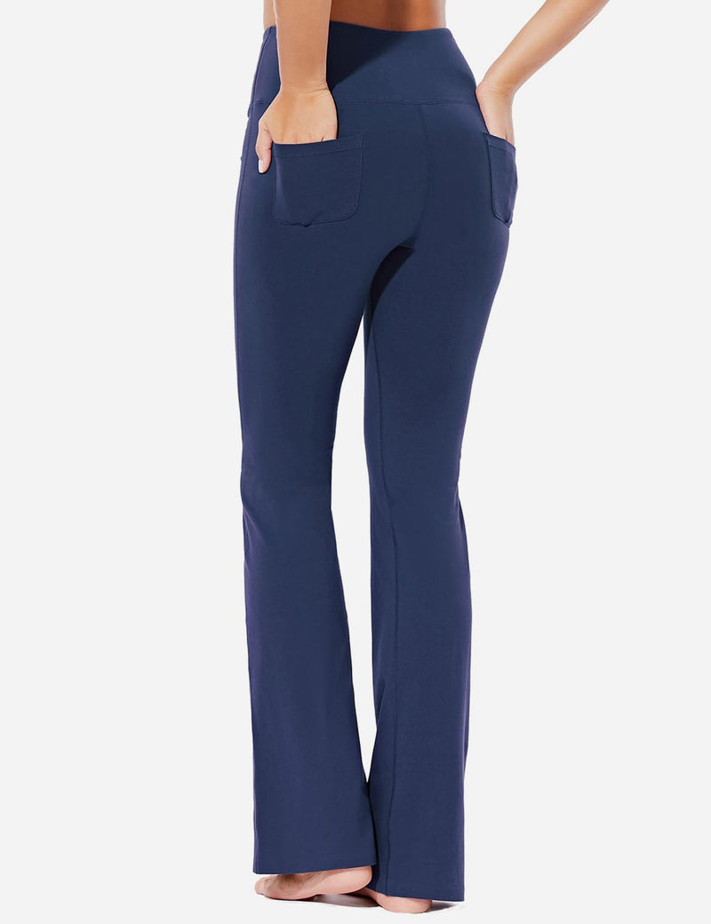 Baleaf Womens High-Rise Seamless Tummy Control Pocketed Bootleg Sweat Pants Navy Back