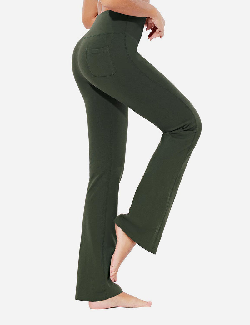 Baleaf Womens Evo High Rise Seamless Tummy Control Pocketed Bootleg Sweat Pants Olive Side