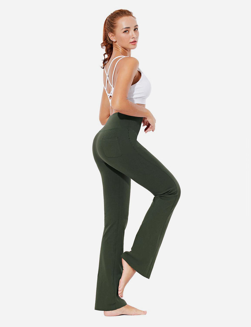 Baleaf Womens Evo High Rise Seamless Tummy Control Pocketed Bootleg Sweat Pants Olive Full