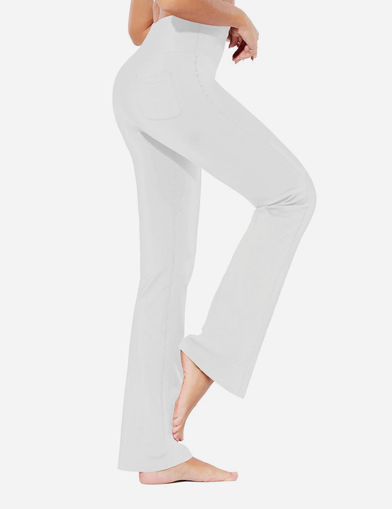 Baleaf Womens Evo High Rise Seamless Tummy Control Pocketed Bootleg Sweat Pants White Side
