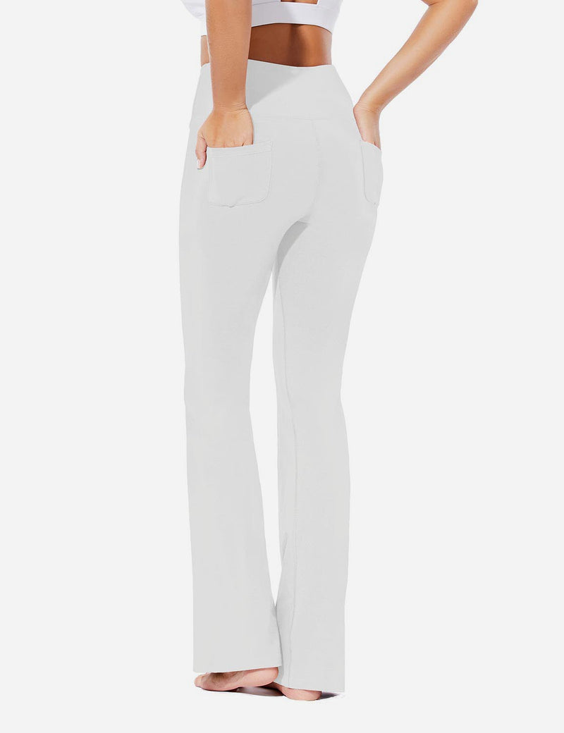 Baleaf Womens Evo High Rise Seamless Tummy Control Pocketed Bootleg Sweat Pants White Back