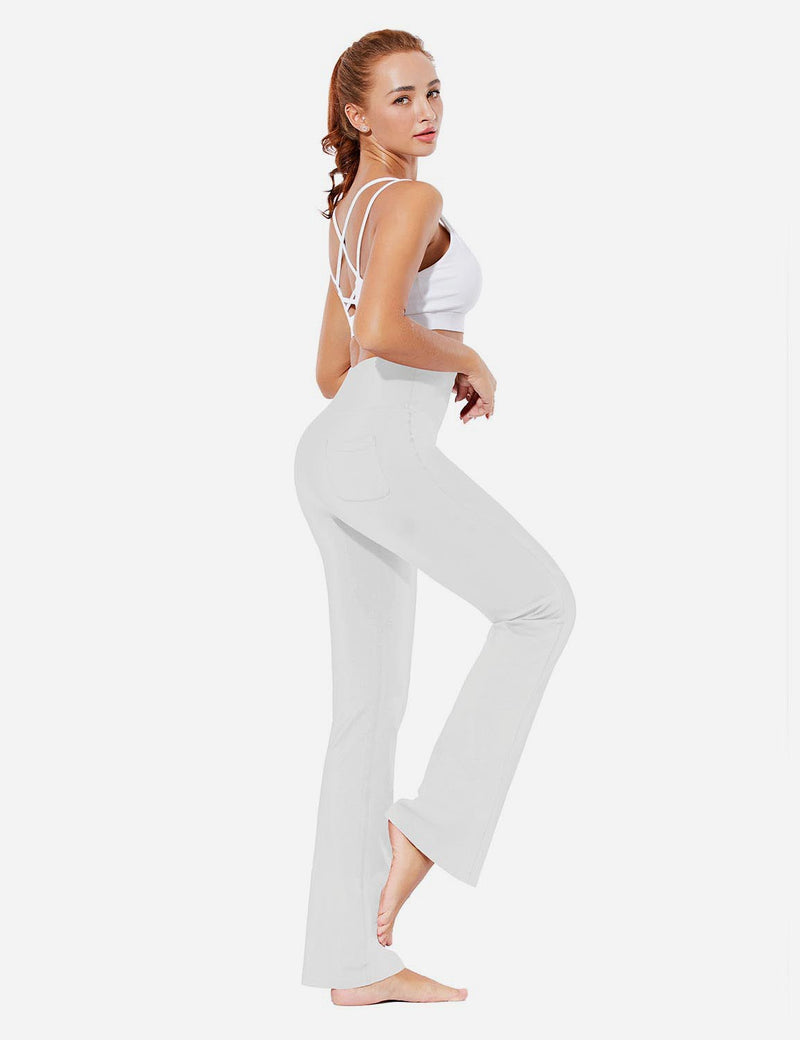 Baleaf Womens Evo High Rise Seamless Tummy Control Pocketed Bootleg Sweat Pants White Full