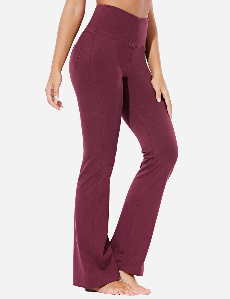 Baleaf Womens High-Rise Seamless Tummy Control Pocketed Bootleg Sweat Pants Burgundy Front