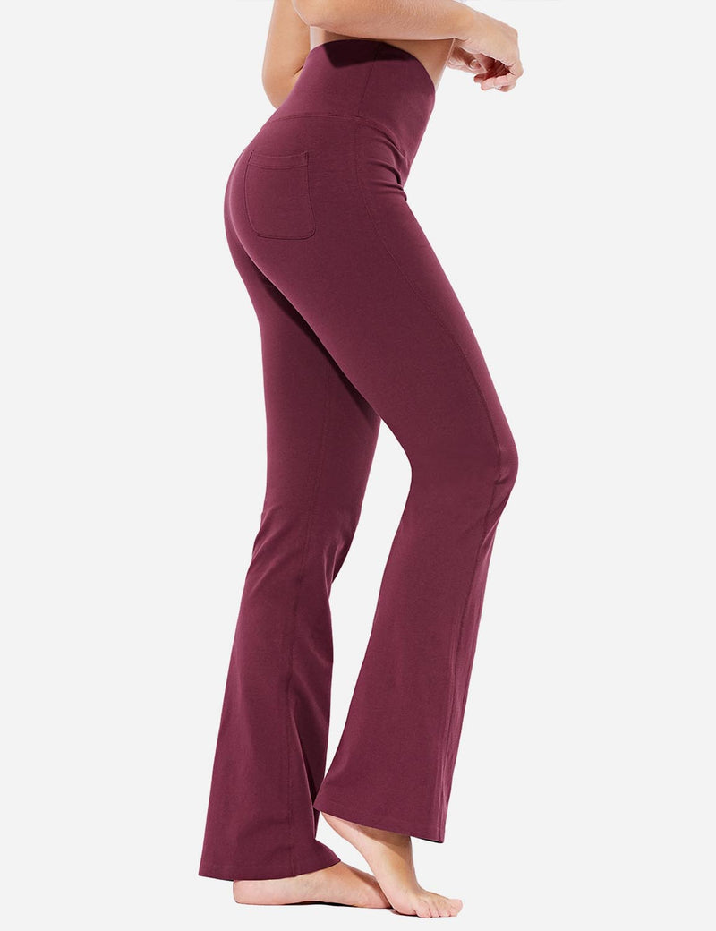 Baleaf Womens High-Rise Seamless Tummy Control Pocketed Bootleg Sweat Pants Burgundy Side