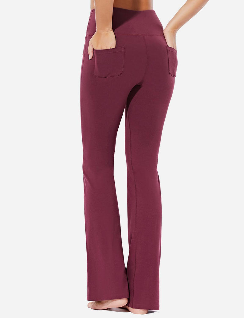 Baleaf Womens High-Rise Seamless Tummy Control Pocketed Bootleg Sweat Pants Burgundy Back