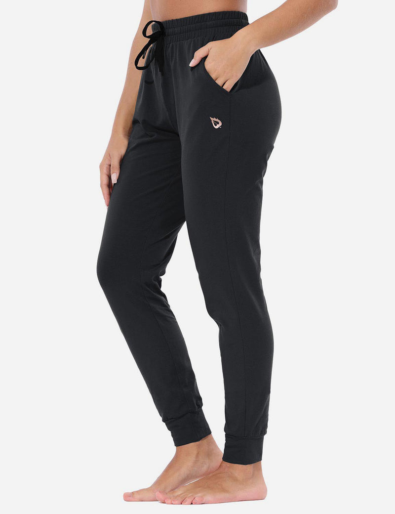 Baleaf Women's Loose-Fit Tapered Cuffs Pocketed Comfortable Joggers Black side