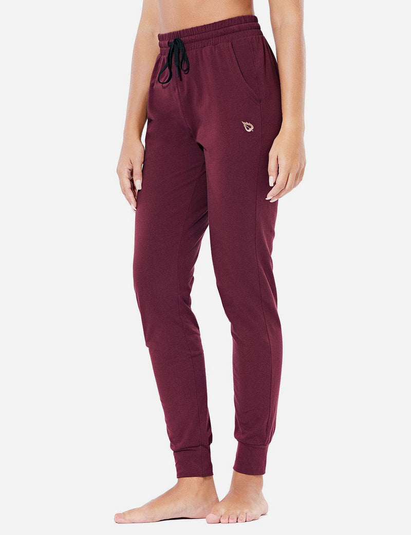 Baleaf Women's Loose-Fit Tapered Cuffs Pocketed Comfortable Joggers Burgundy side