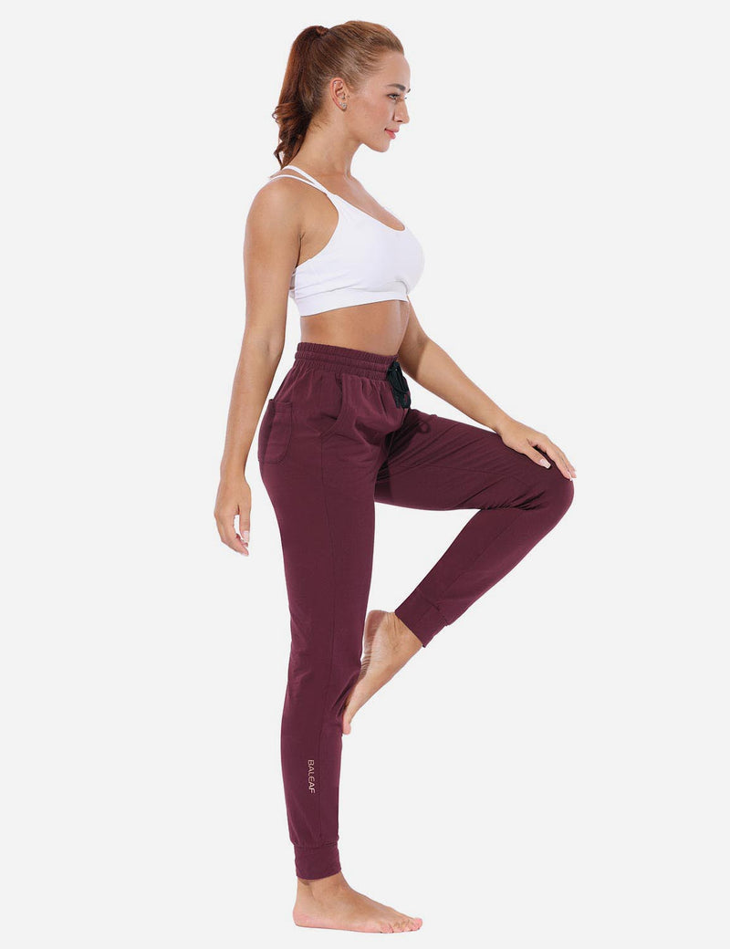 Baleaf Women's Loose-Fit Tapered Cuffs Pocketed Comfortable Joggers Burgundy full