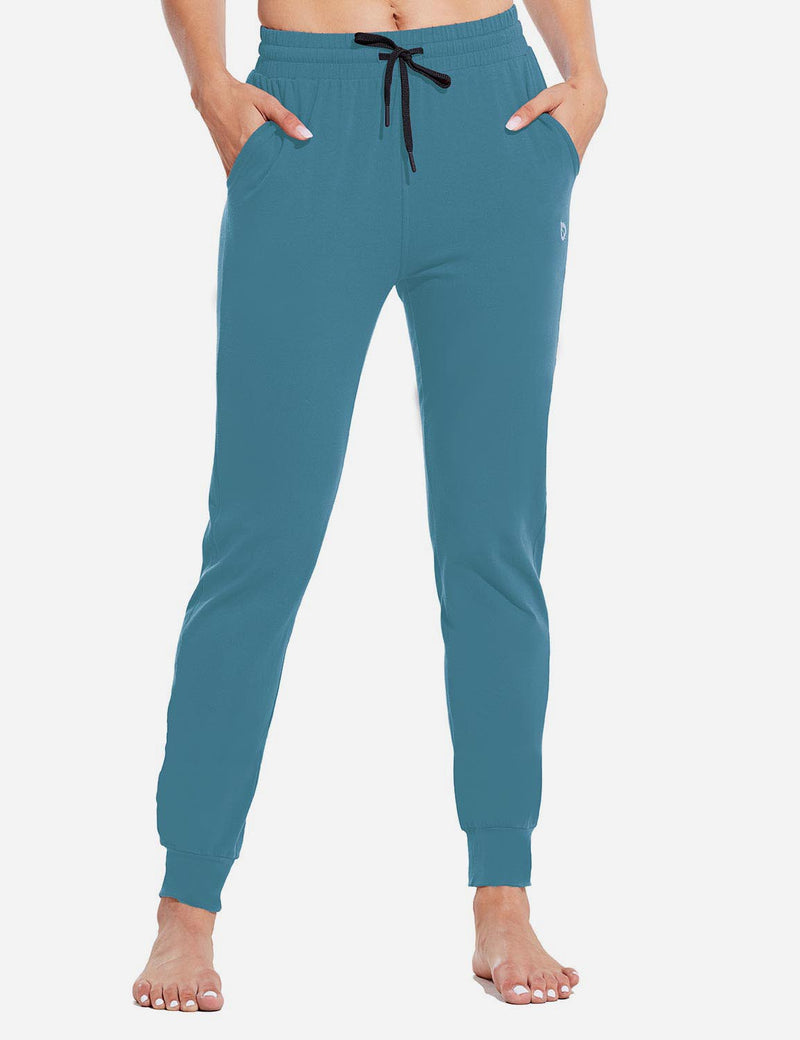 Baleaf Womens Evo Loose-Fit Tapered Cuffs Pocketed Comfortable Joggers Copen Blue Front