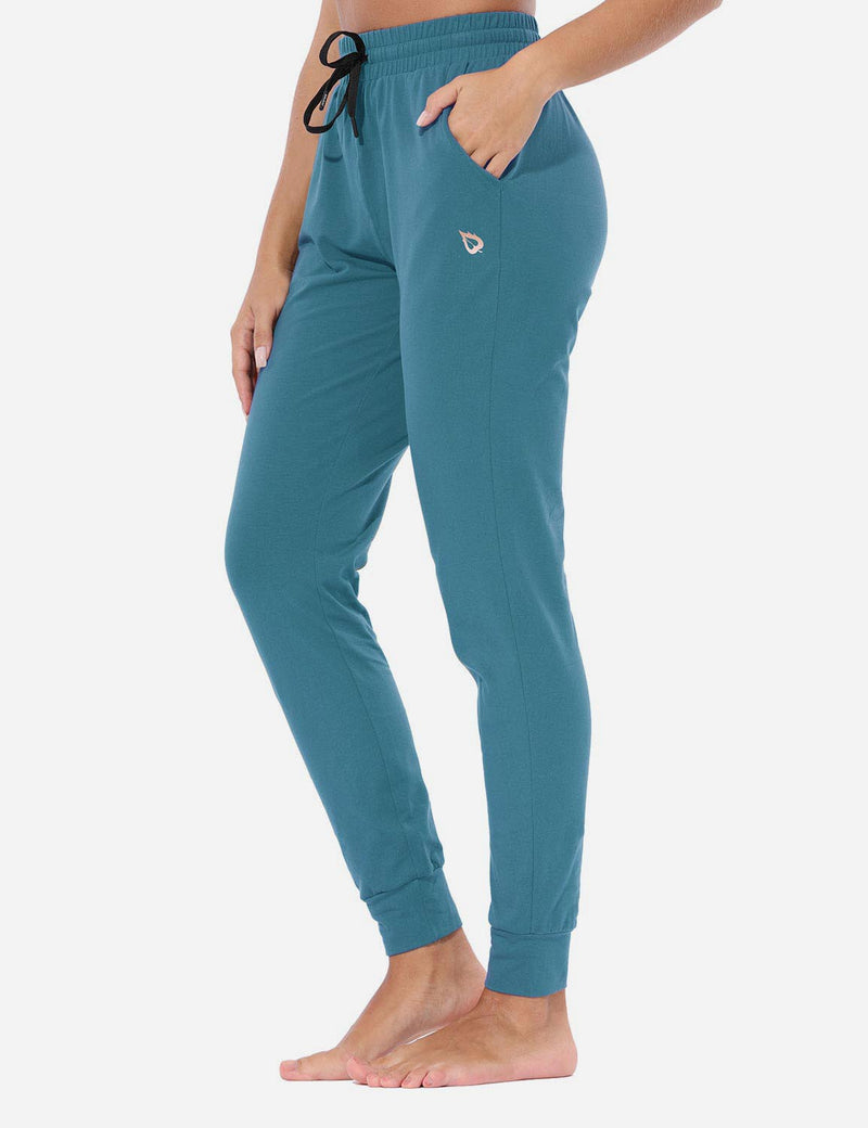Baleaf Womens Evo Loose-Fit Tapered Cuffs Pocketed Comfortable Joggers Copen Blue Side