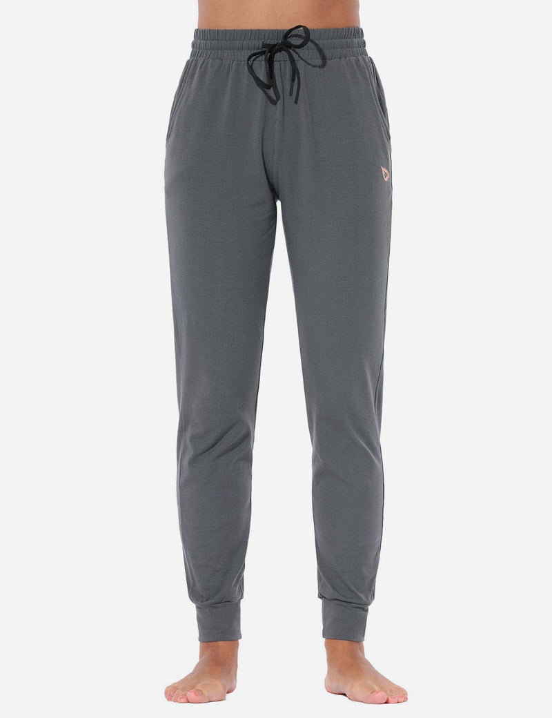 Baleaf Women's Loose-Fit Tapered Cuffs Pocketed Comfortable Joggers Navy Gray front