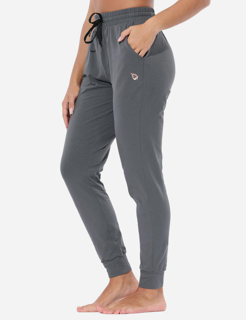 Baleaf Women's Loose-Fit Tapered Cuffs Pocketed Comfortable Joggers Gray Side