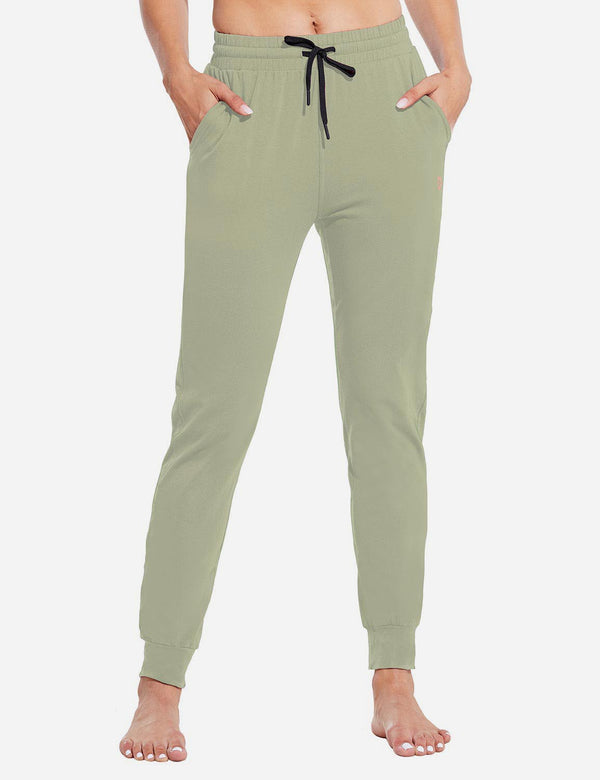 Baleaf Womens Evo Loose-Fit Tapered Cuffs Pocketed Comfortable Joggers Spray Green Front