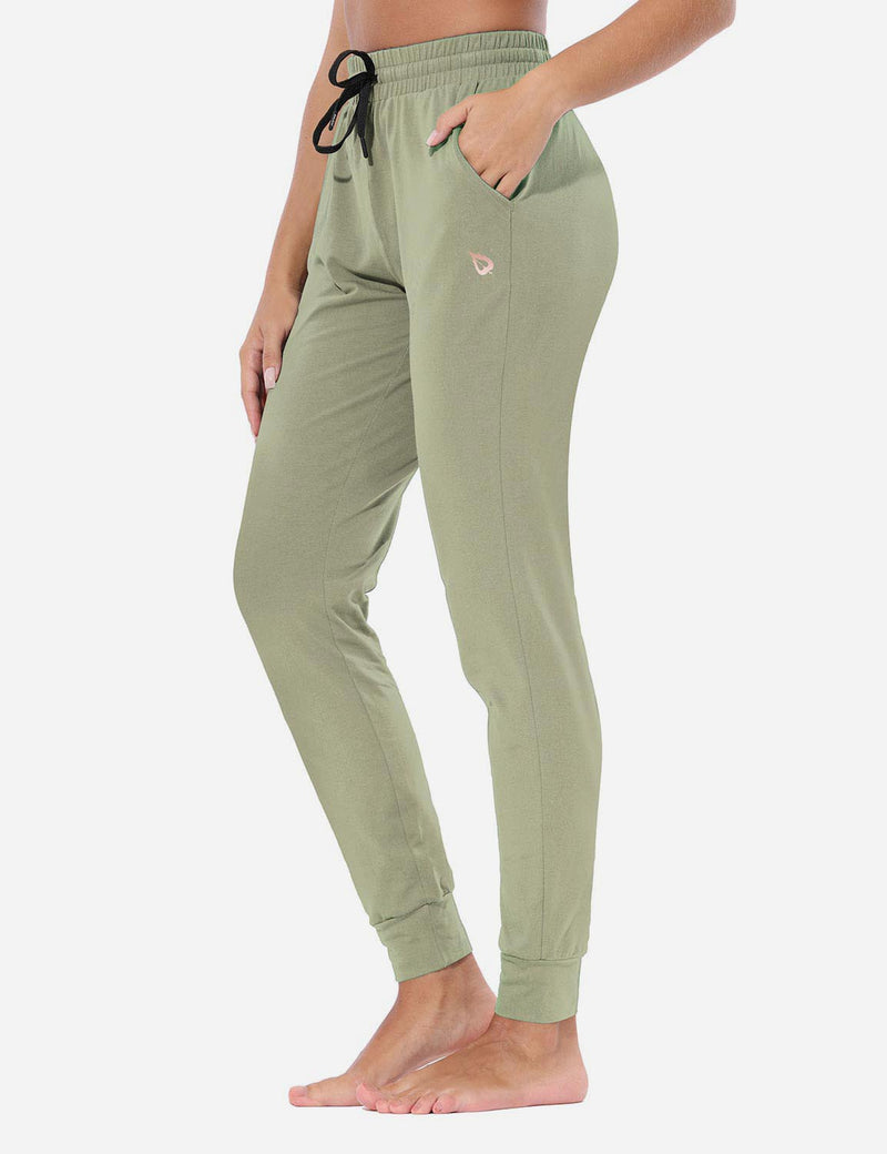 Baleaf Womens Evo Loose-Fit Tapered Cuffs Pocketed Comfortable Joggers Spray Green Side