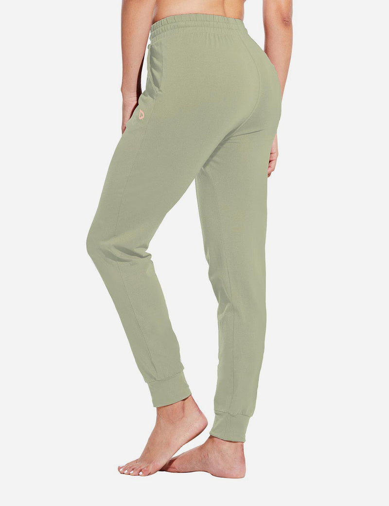 Baleaf Womens Evo Loose-Fit Tapered Cuffs Pocketed Comfortable Joggers Spray Green Back