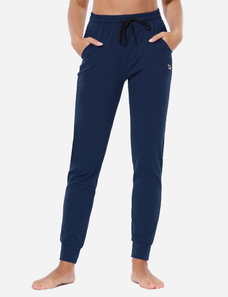 Baleaf Women's Loose-Fit Tapered Cuffs Pocketed Comfortable Joggers Navy Front
