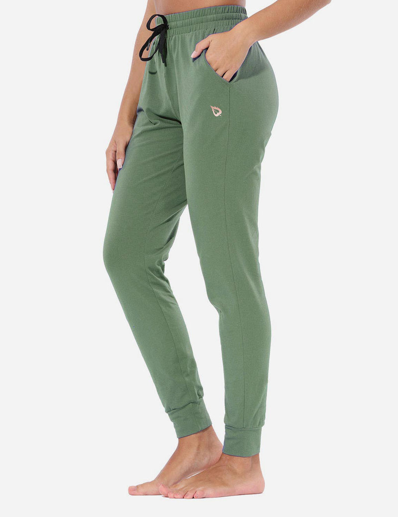 Baleaf Womens Evo Loose-Fit Tapered Cuffs Pocketed Comfortable Joggers Loden Forest Side