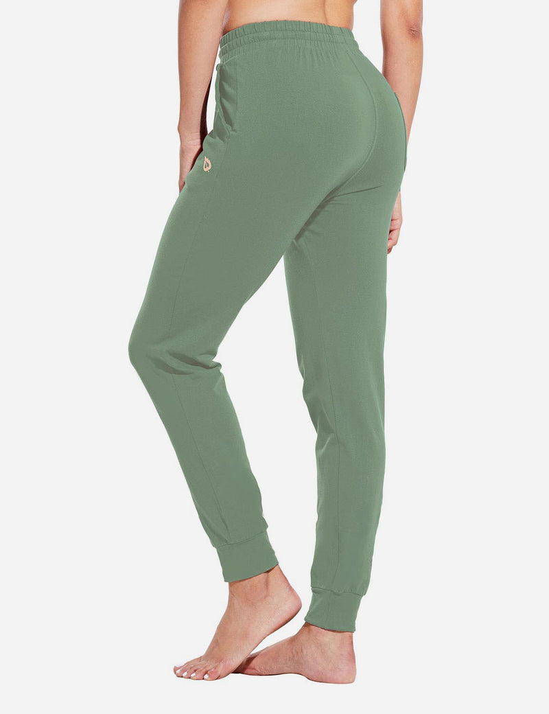 Baleaf Womens Evo Loose-Fit Tapered Cuffs Pocketed Comfortable Joggers Loden Forest Back