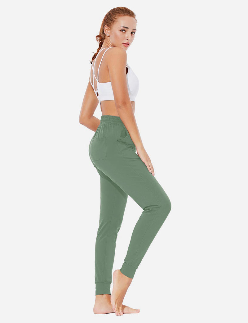 Baleaf Womens Evo Loose-Fit Tapered Cuffs Pocketed Comfortable Joggers Loden Forest Full