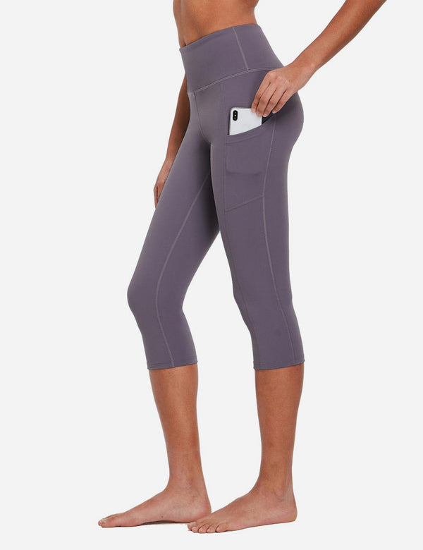 Baleaf Womens Evo High Rise Non-see-through Pocketed 3/4 Capri Purple Side