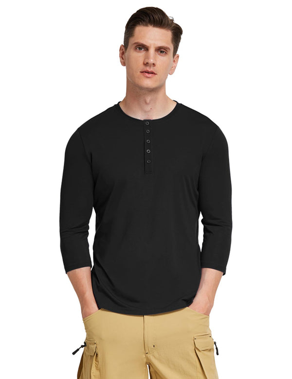 Baleaf Mens Crew Neck Slim Fit Quick Dry Pocketed 3/4 Sleeve Workout Henley Shirt Black Front