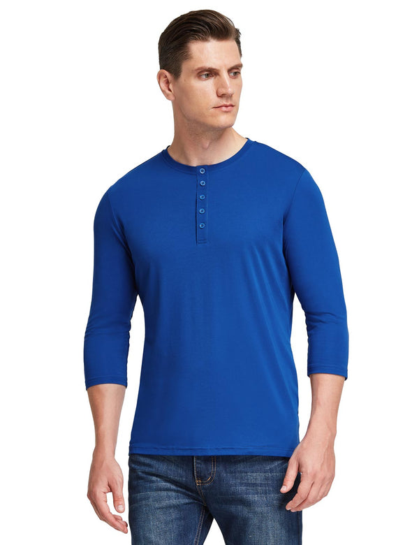 Baleaf Mens Crew Neck Slim Fit Quick Dry Pocketed 3/4 Sleeve Workout Henley Shirt Blue Side